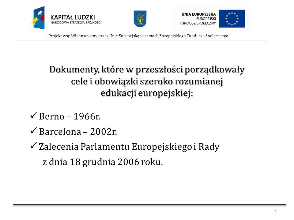 Zalecenia Parlamentu Europejskiego i Rady z dnia 18 grudnia 2006 roku.