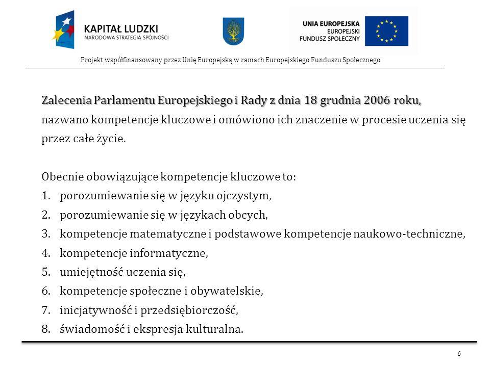 Zalecenia Parlamentu Europejskiego i Rady z dnia 18 grudnia 2006 roku,