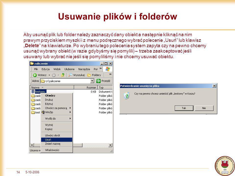 Usuwanie plików i folderów