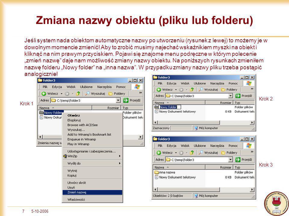 Zmiana nazwy obiektu (pliku lub folderu)