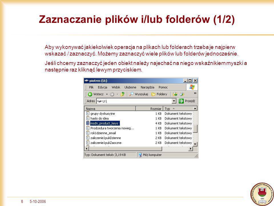 Zaznaczanie plików i/lub folderów (1/2)