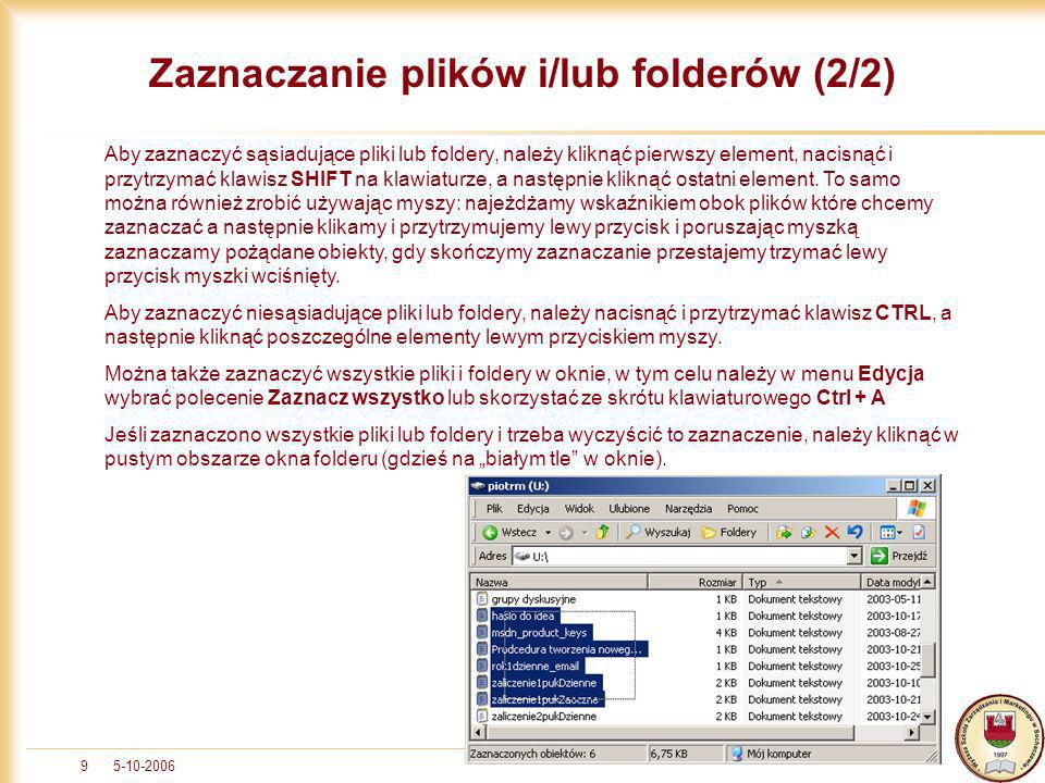 Zaznaczanie plików i/lub folderów (2/2)
