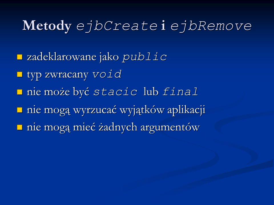 Metody ejbCreate i ejbRemove