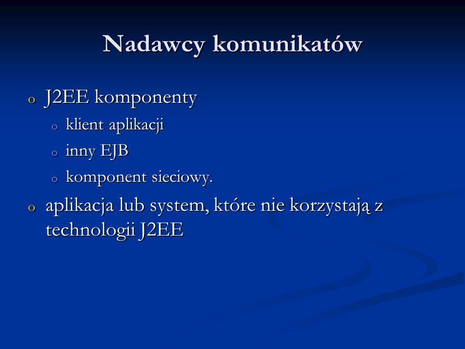 Nadawcy komunikatów J2EE komponenty