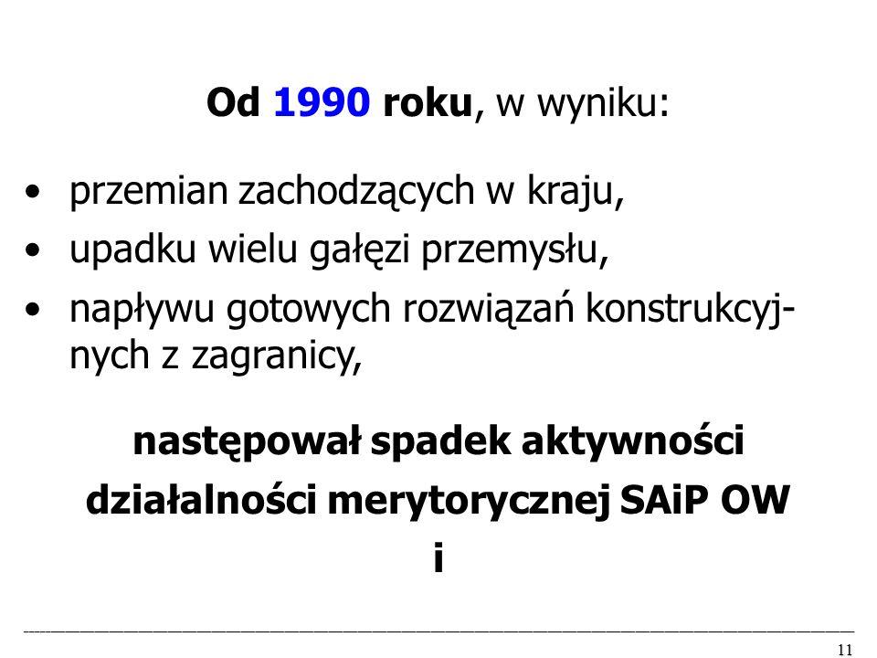 następował spadek aktywności działalności merytorycznej SAiP OW
