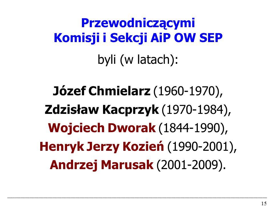 Komisji i Sekcji AiP OW SEP byli (w latach):
