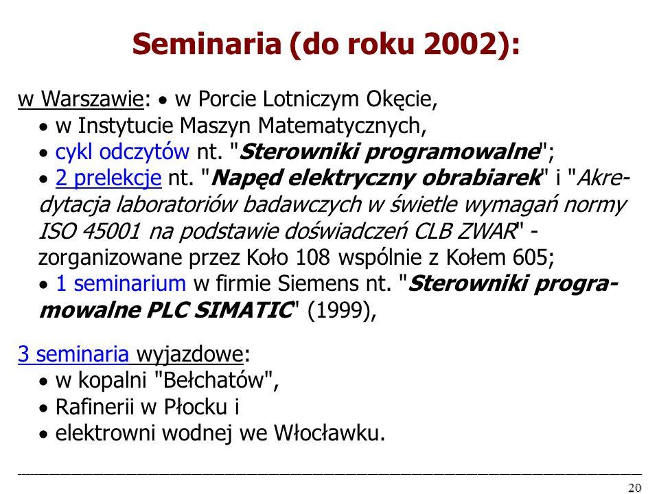 Seminaria (do roku 2002):