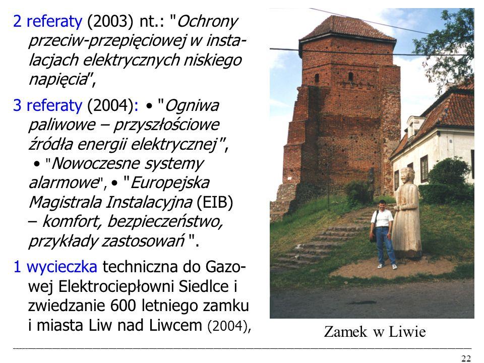 2 referaty (2003) nt.: Ochrony przeciw-przepięciowej w insta- lacjach elektrycznych niskiego napięcia ,