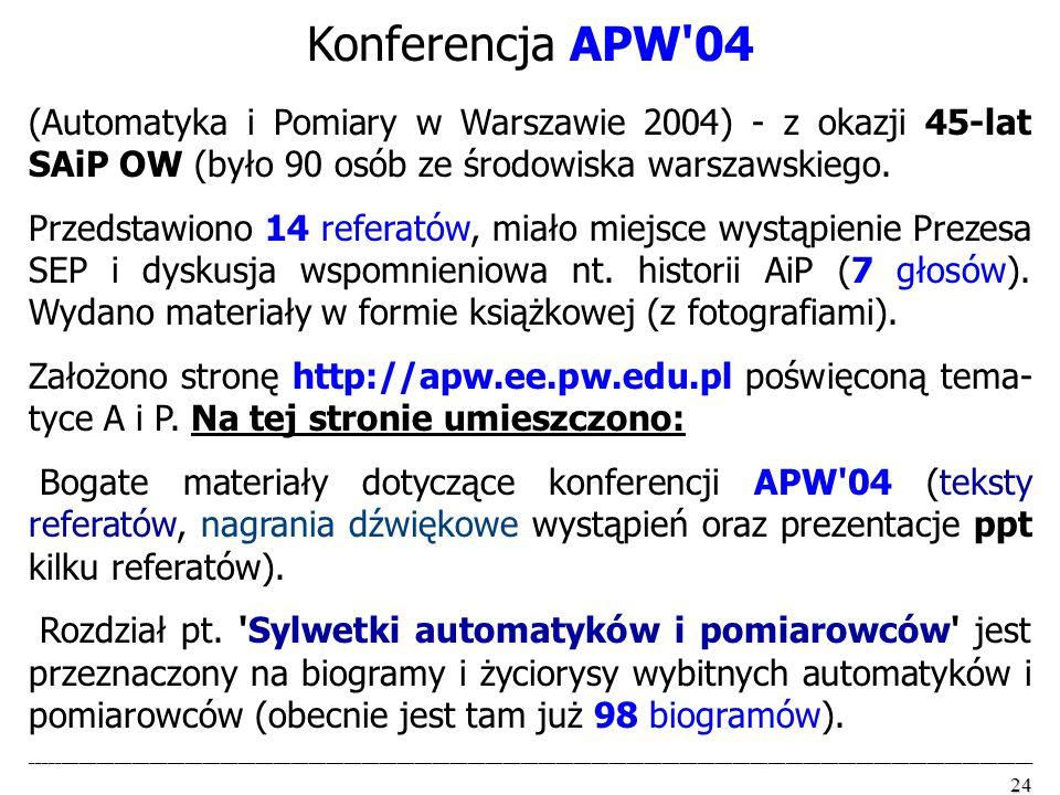 Konferencja APW 04 (Automatyka i Pomiary w Warszawie 2004) - z okazji 45-lat SAiP OW (było 90 osób ze środowiska warszawskiego.