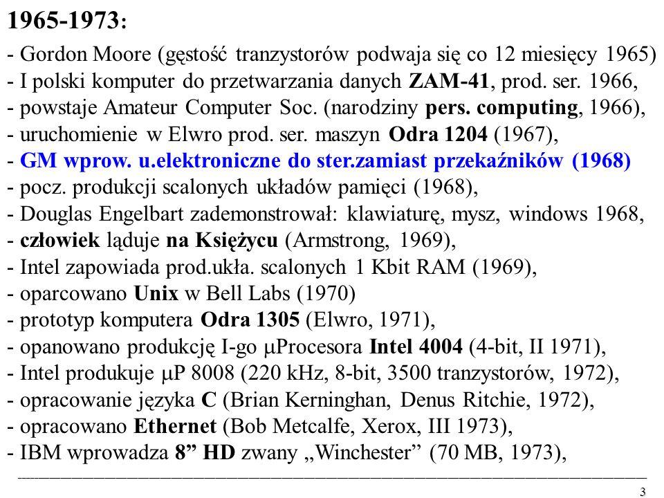 1965-1973: - Gordon Moore (gęstość tranzystorów podwaja się co 12 miesięcy 1965)