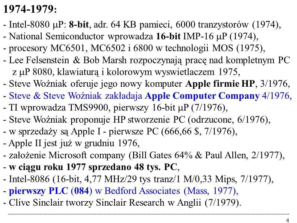 1974-1979: - Intel-8080 P: 8-bit, adr. 64 KB pamieci, 6000 tranzystorów (1974), - National Semiconductor wprowadza 16-bit IMP-16 P (1974),