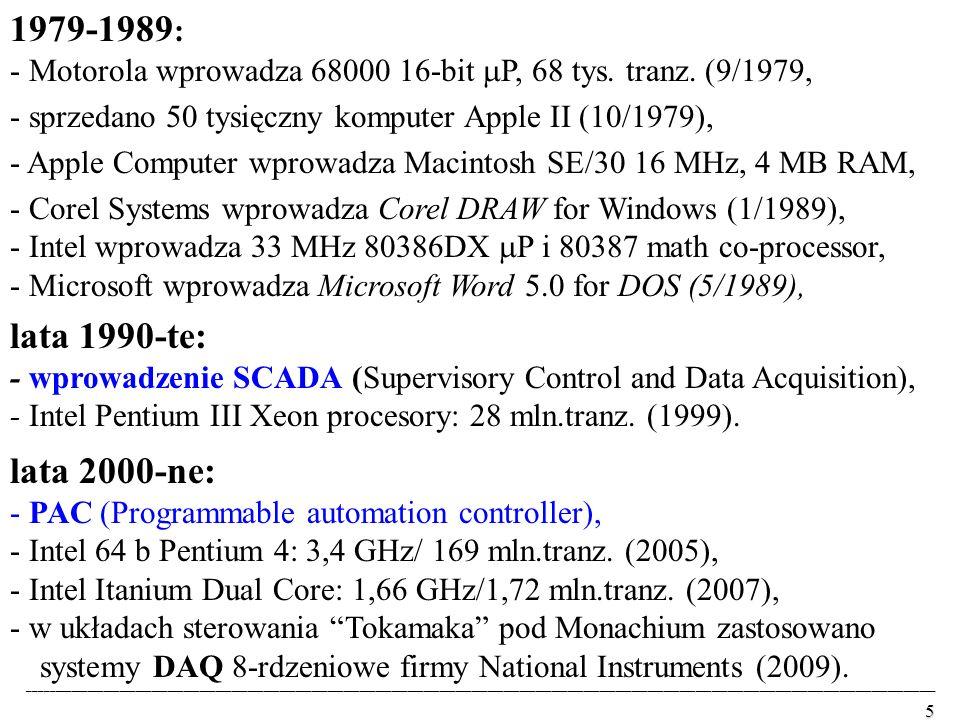 1979-1989: - Motorola wprowadza 68000 16-bit P, 68 tys. tranz. (9/1979, - sprzedano 50 tysięczny komputer Apple II (10/1979),