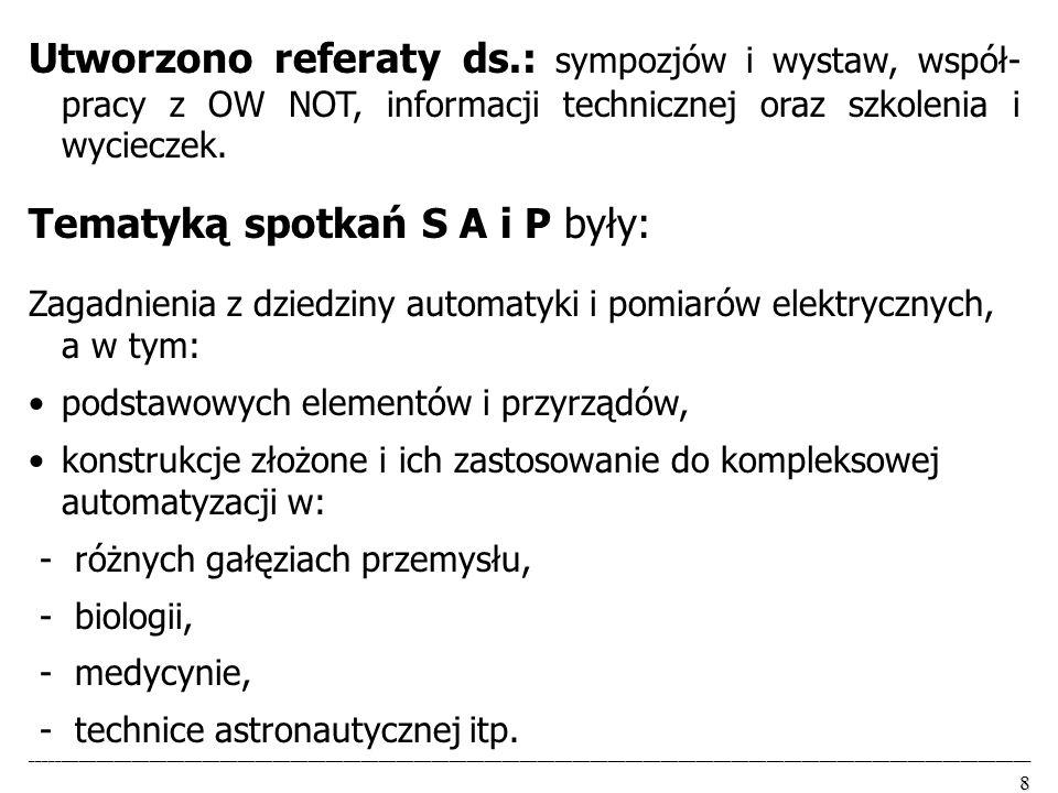 Tematyką spotkań S A i P były: