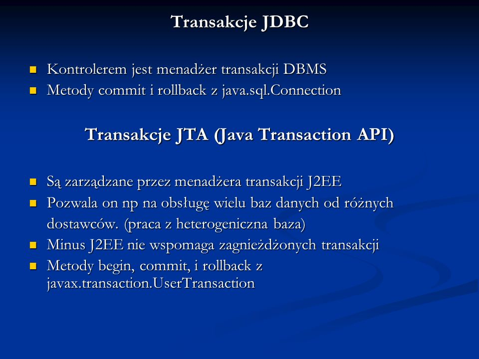 Transakcje JTA (Java Transaction API)