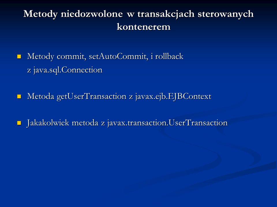Metody niedozwolone w transakcjach sterowanych kontenerem