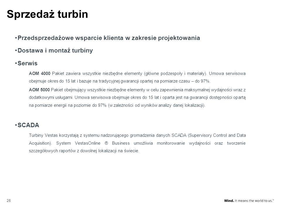 Sprzedaż turbin Przedsprzedażowe wsparcie klienta w zakresie projektowania. Dostawa i montaż turbiny.