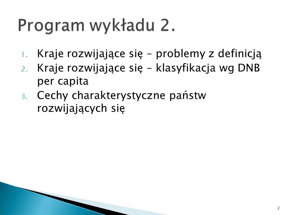 Program wykładu 2. Kraje rozwijające się – problemy z definicją