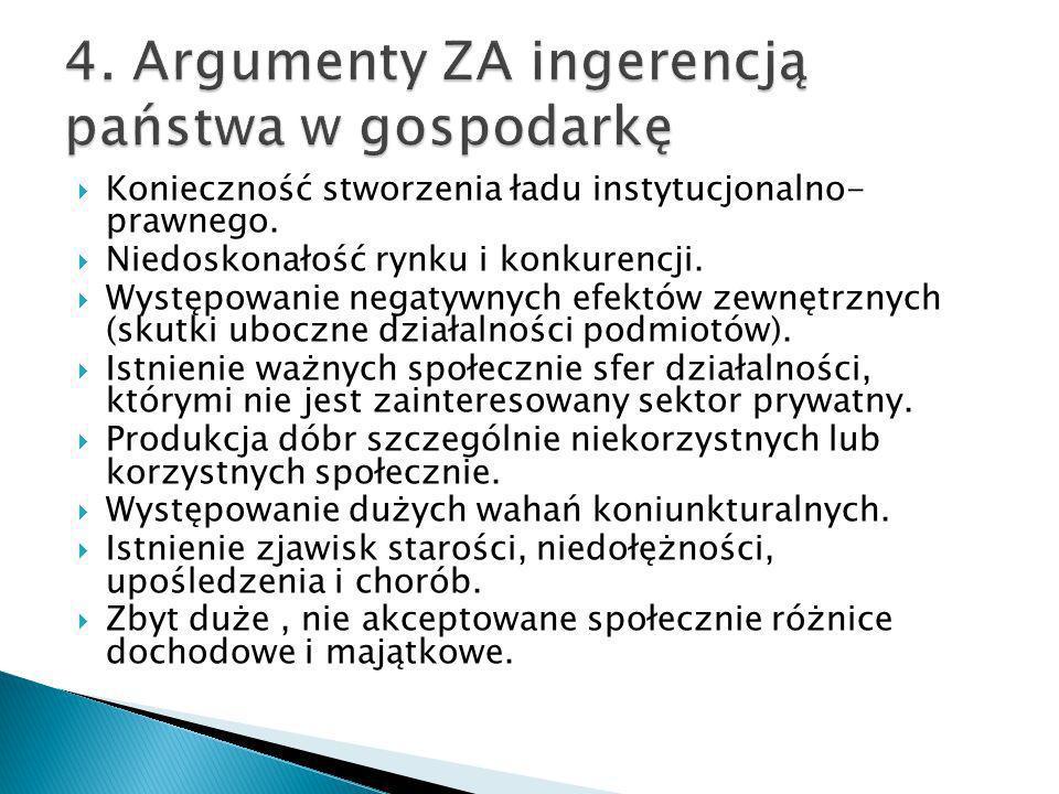 4. Argumenty ZA ingerencją państwa w gospodarkę