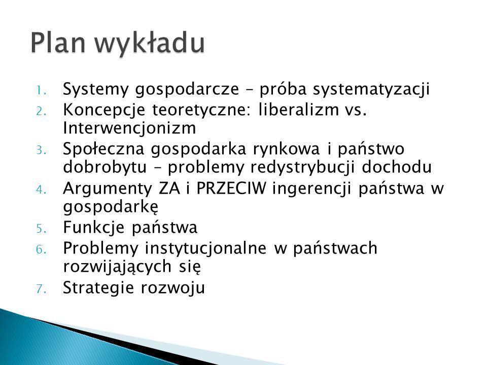 Plan wykładu Systemy gospodarcze – próba systematyzacji