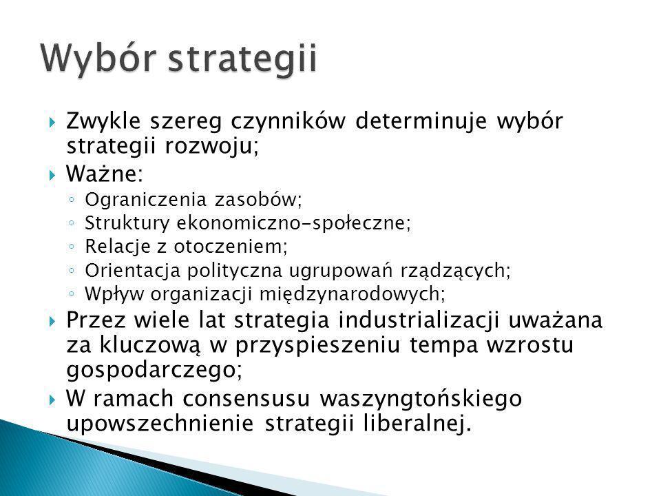 Wybór strategii Zwykle szereg czynników determinuje wybór strategii rozwoju; Ważne: Ograniczenia zasobów;