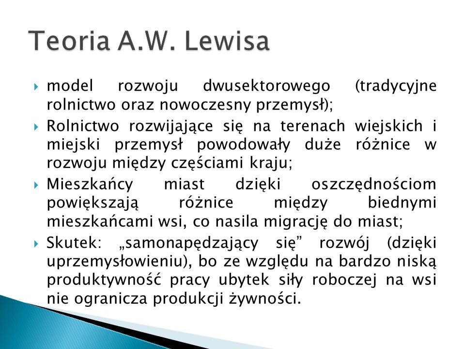 Teoria A.W. Lewisa model rozwoju dwusektorowego (tradycyjne rolnictwo oraz nowoczesny przemysł);