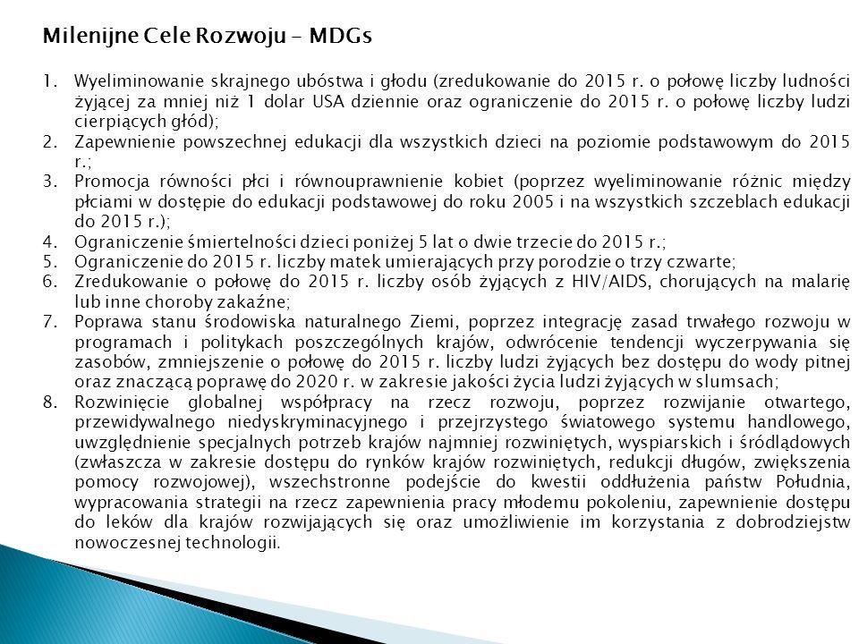 Milenijne Cele Rozwoju – MDGs