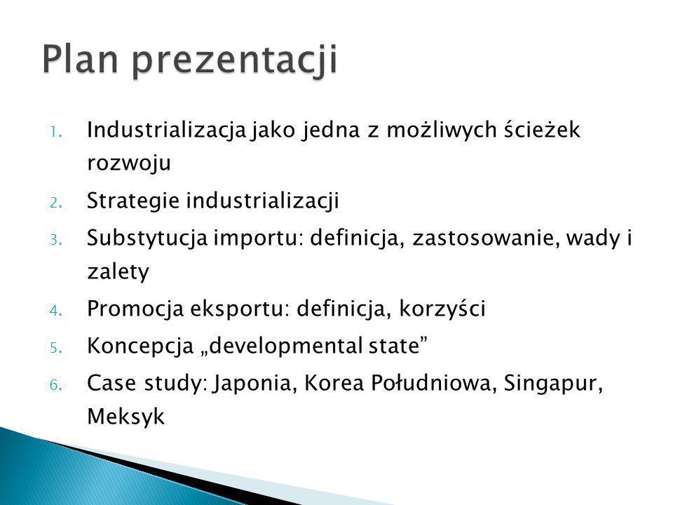 Plan prezentacji Industrializacja jako jedna z możliwych ścieżek rozwoju. Strategie industrializacji.