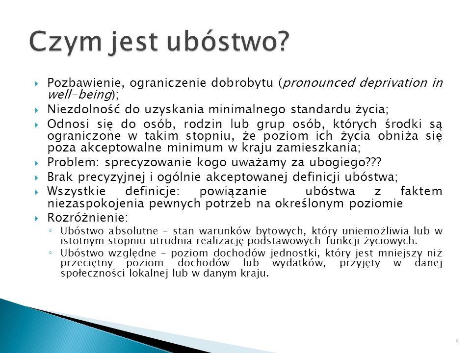 Czym jest ubóstwo Pozbawienie, ograniczenie dobrobytu (pronounced deprivation in well-being);