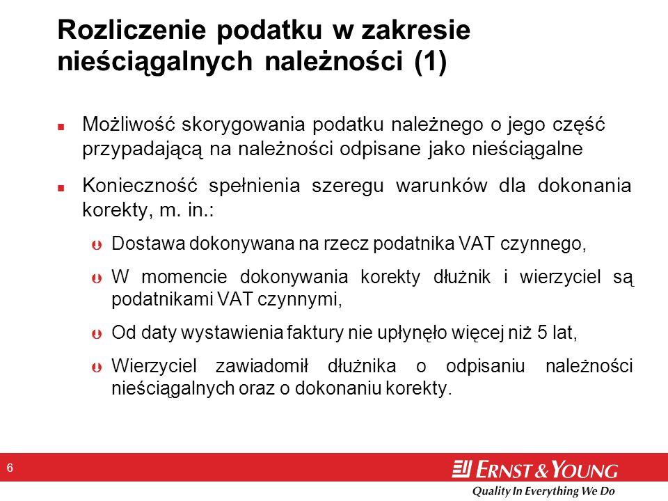 Rozliczenie podatku w zakresie nieściągalnych należności (1)