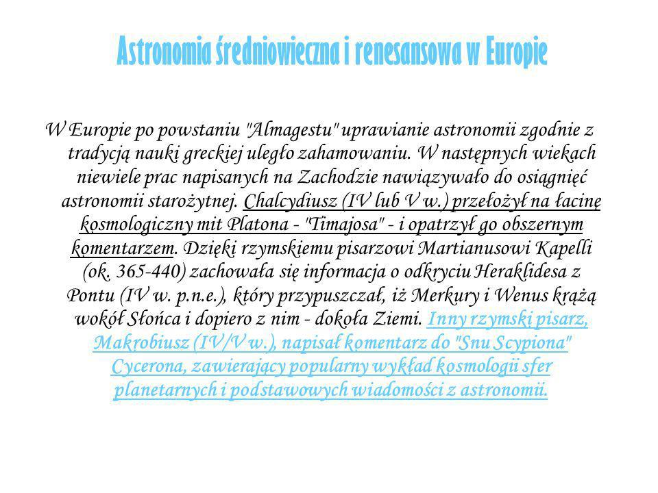 Astronomia średniowieczna i renesansowa w Europie