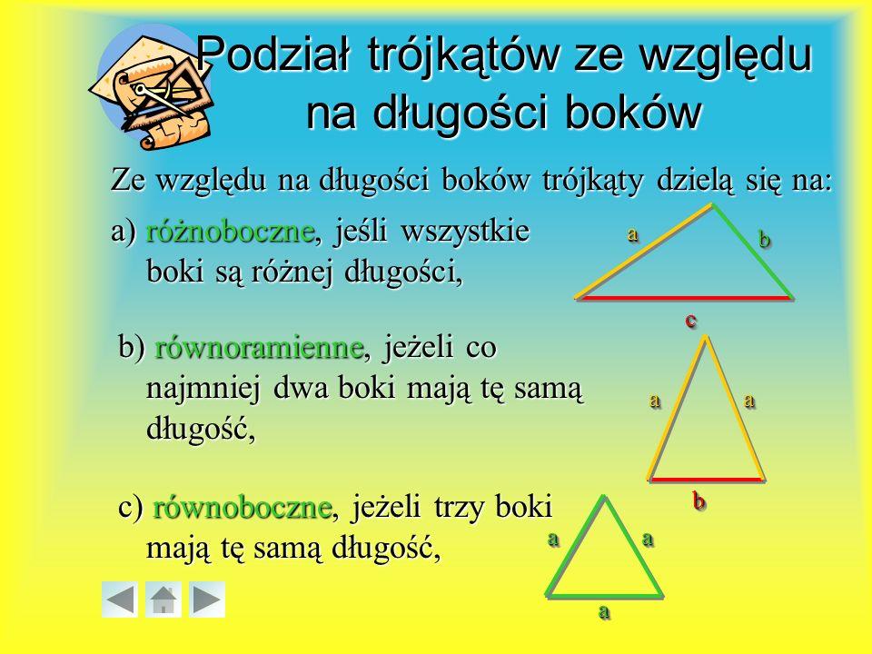 Podział trójkątów ze względu na długości boków