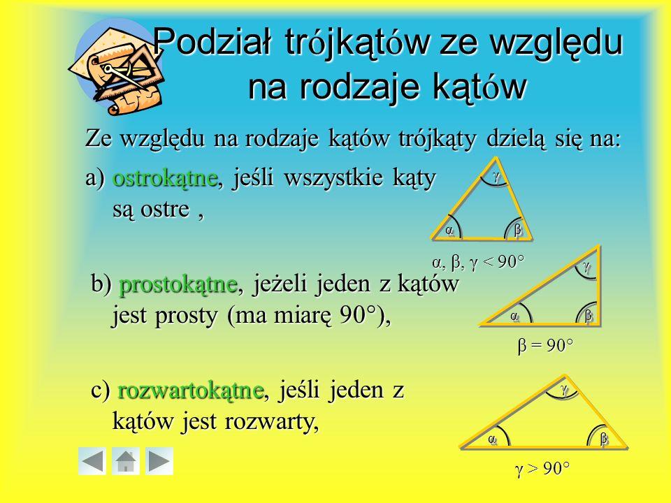 Podział trójkątów ze względu na rodzaje kątów