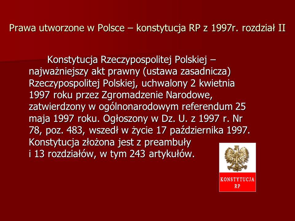 Prawa utworzone w Polsce – konstytucja RP z 1997r. rozdział II