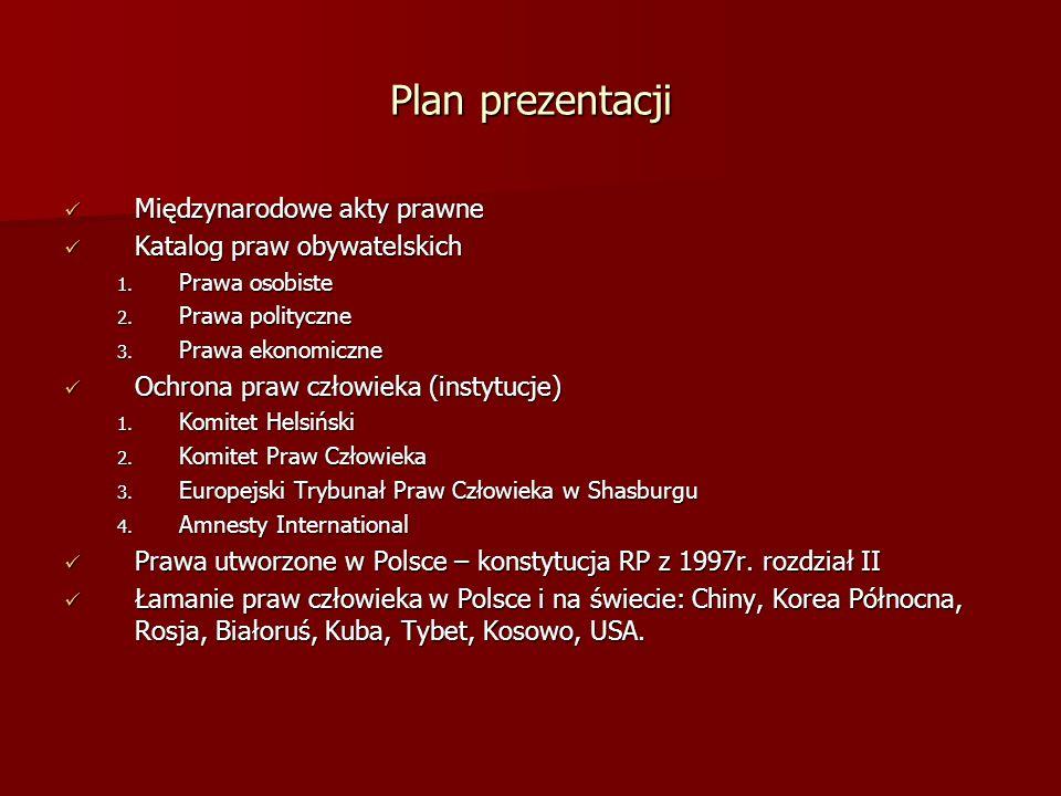 Plan prezentacji Międzynarodowe akty prawne Katalog praw obywatelskich