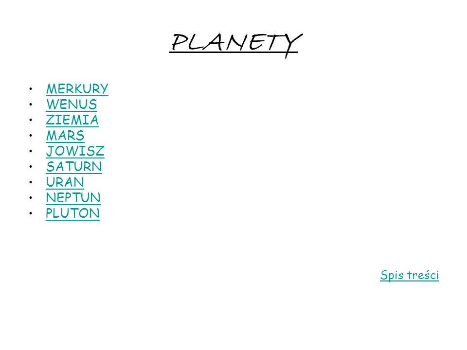 PLANETY MERKURY WENUS ZIEMIA MARS JOWISZ SATURN URAN NEPTUN PLUTON