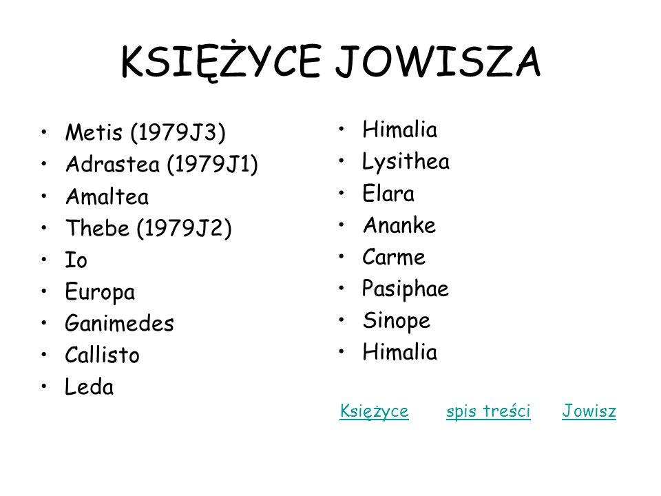 KSIĘŻYCE JOWISZA Himalia Metis (1979J3) Lysithea Adrastea (1979J1)