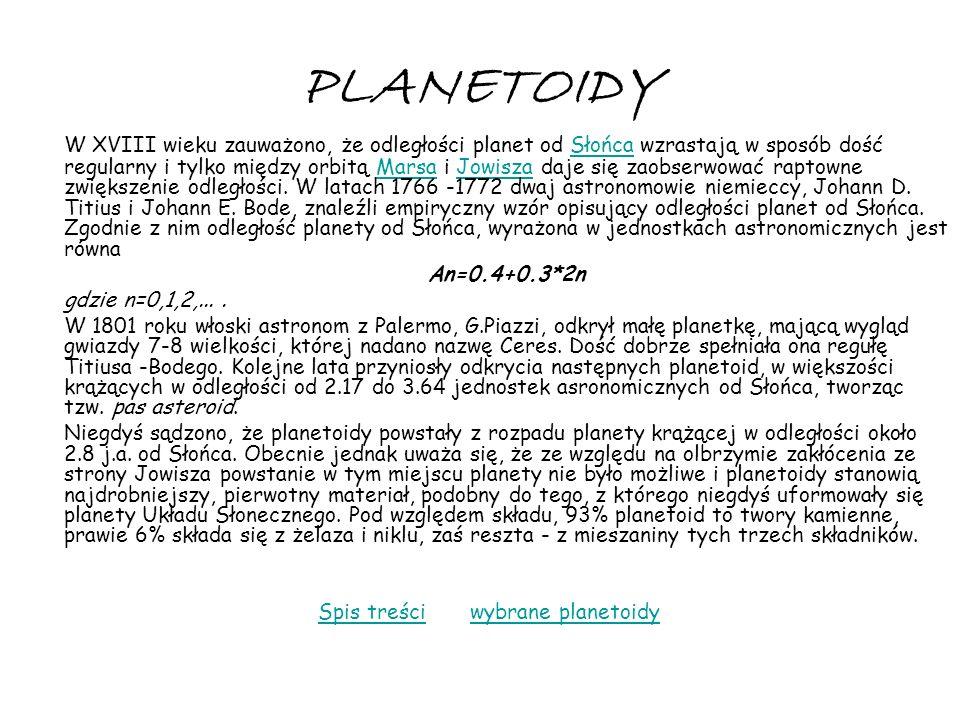 Spis treści wybrane planetoidy