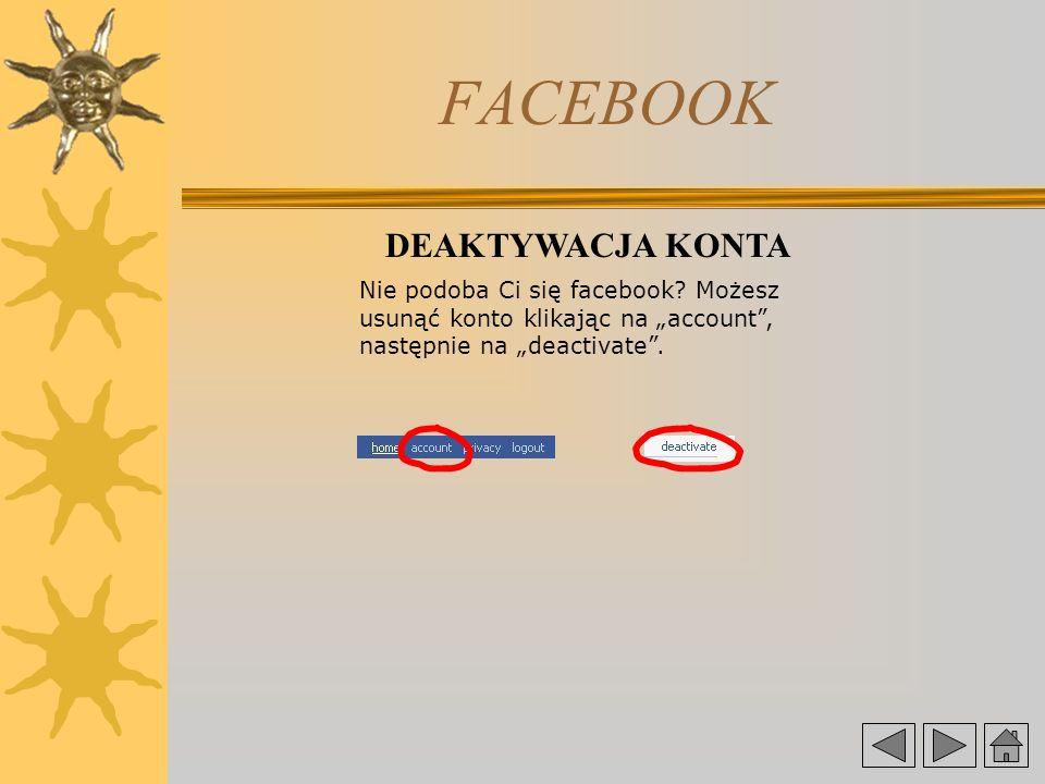 FACEBOOK DEAKTYWACJA KONTA