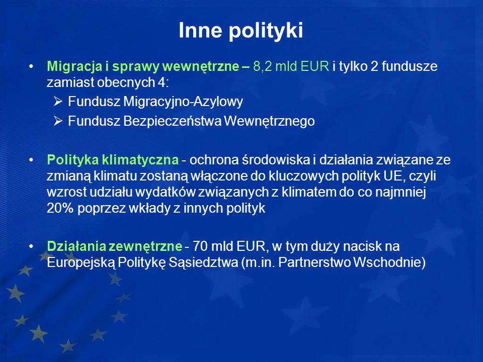 Inne polityki Migracja i sprawy wewnętrzne – 8,2 mld EUR i tylko 2 fundusze zamiast obecnych 4: Fundusz Migracyjno-Azylowy.