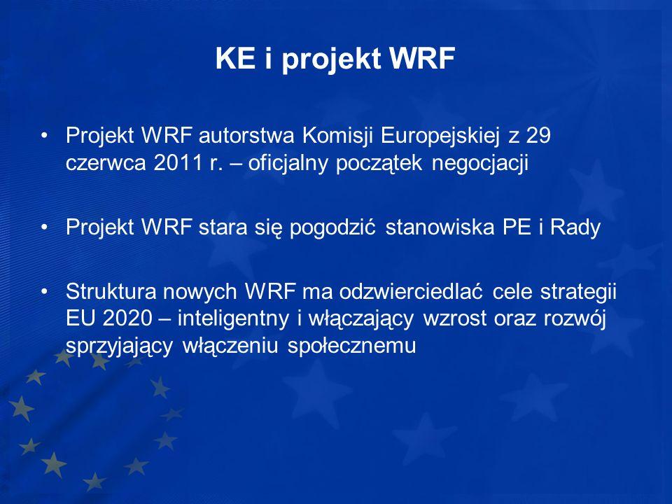 KE i projekt WRF Projekt WRF autorstwa Komisji Europejskiej z 29 czerwca 2011 r. – oficjalny początek negocjacji.