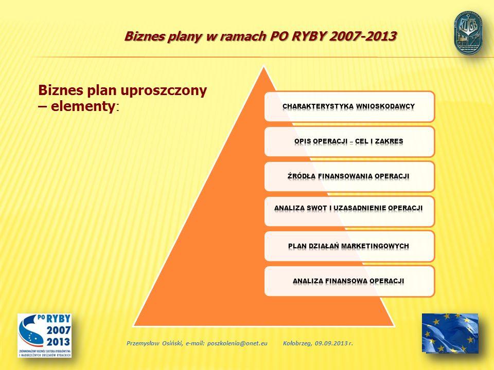 Biznes plan uproszczony – elementy: