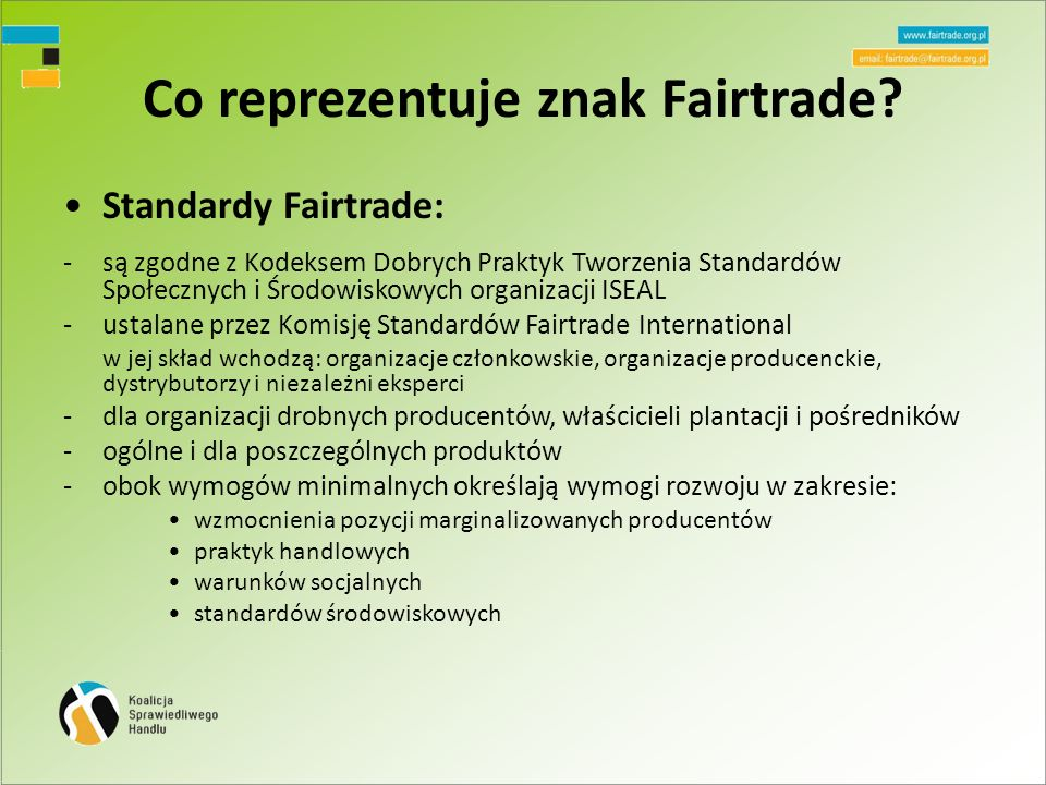 Co reprezentuje znak Fairtrade