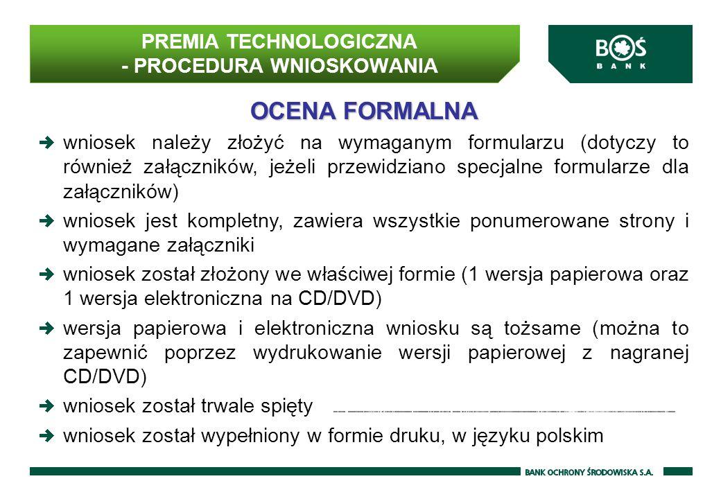 PREMIA TECHNOLOGICZNA - PROCEDURA WNIOSKOWANIA