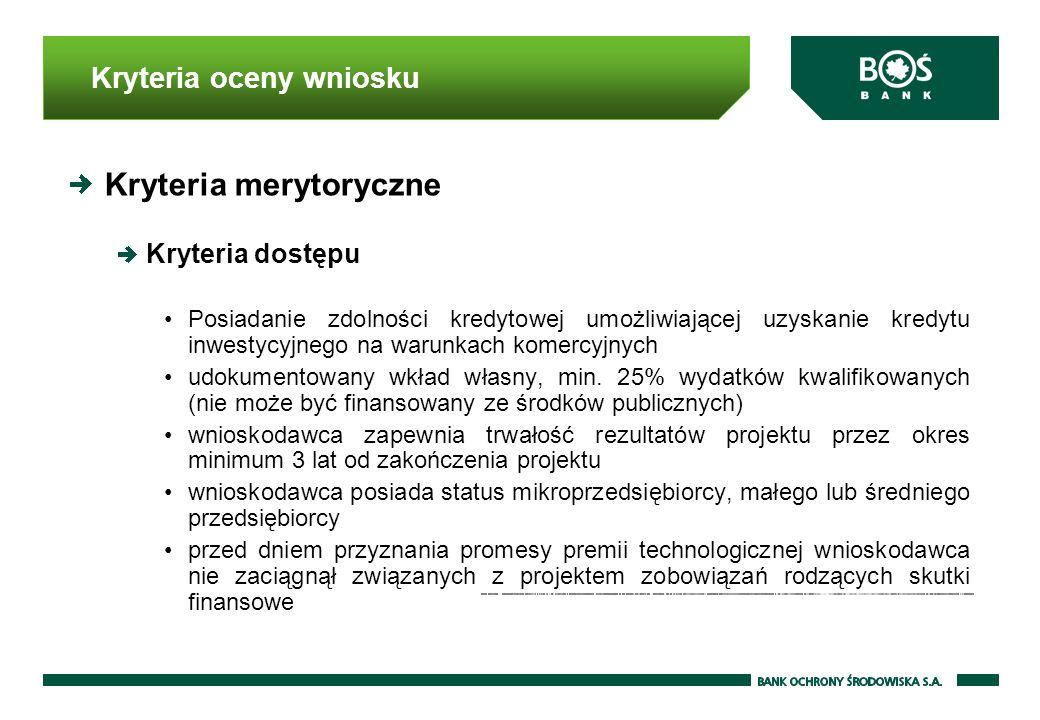 Kryteria oceny wniosku