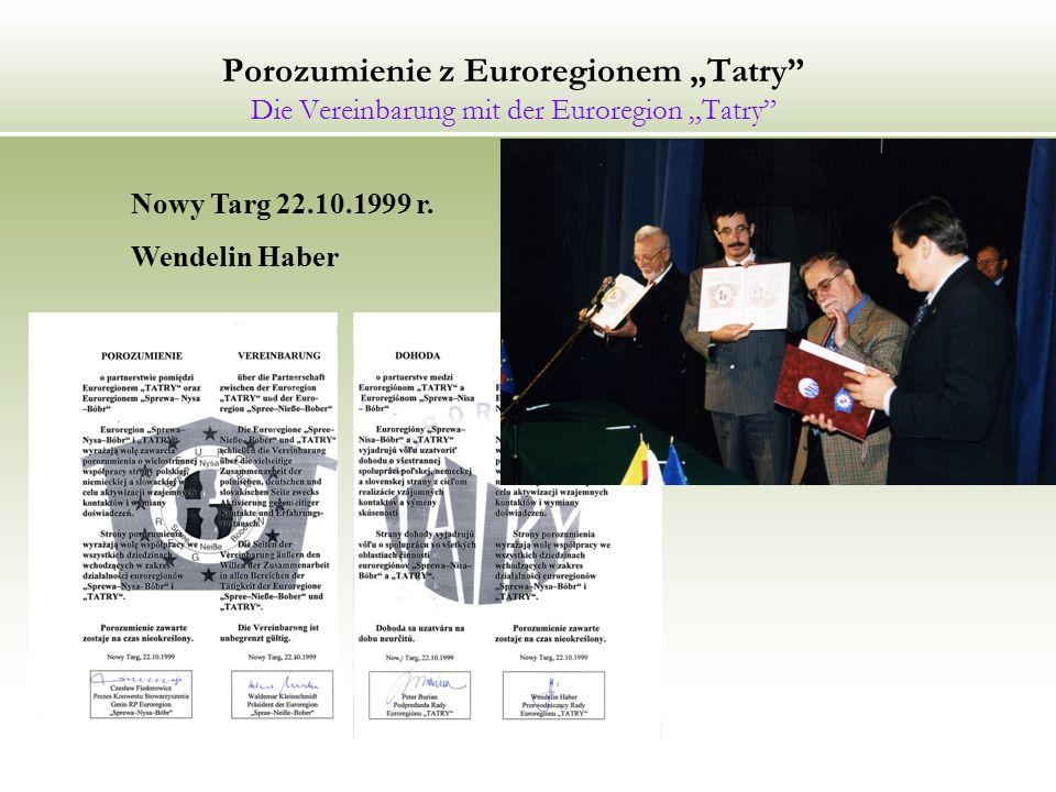 """Porozumienie z Euroregionem """"Tatry Die Vereinbarung mit der Euroregion """"Tatry"""