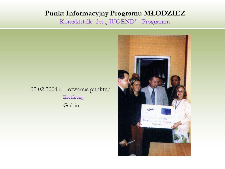 "Punkt Informacyjny Programu MŁODZIEŻ Kontaktstelle des "" JUGEND - Programms"