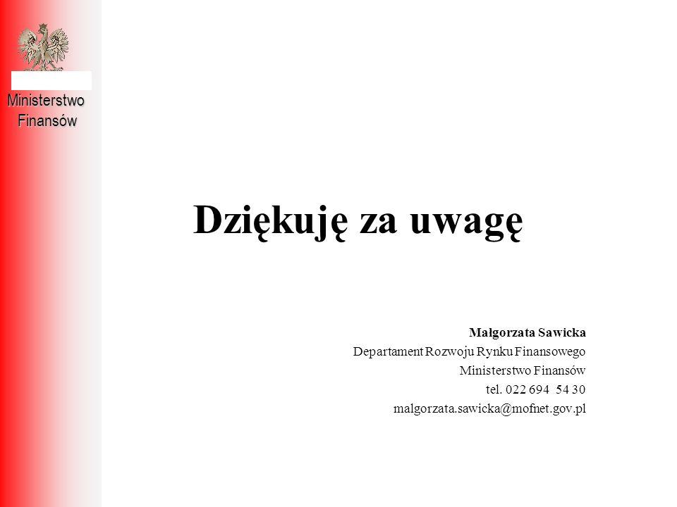 Dziękuję za uwagę Ministerstwo Finansów Małgorzata Sawicka