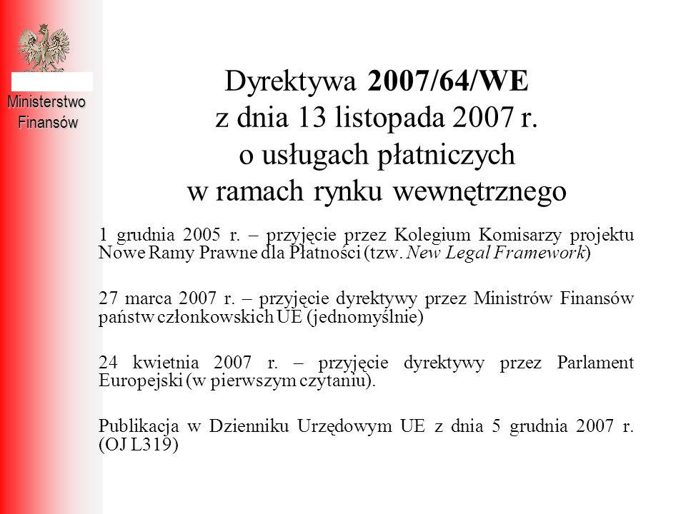 Dyrektywa 2007/64/WE z dnia 13 listopada 2007 r