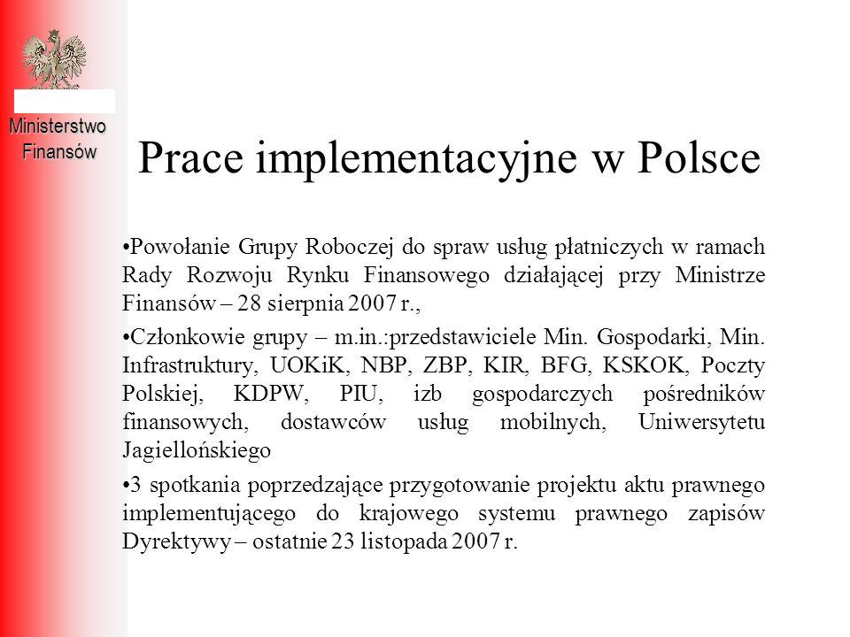 Prace implementacyjne w Polsce
