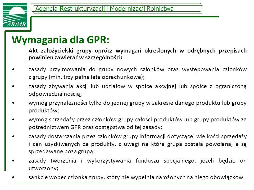Wymagania dla GPR: Agencja Restrukturyzacji i Modernizacji Rolnictwa